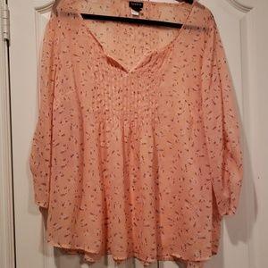 Torrid 2X peachy pink sheer blouse